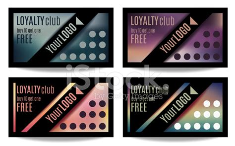client loyalty card template set of four customer loyalty card or reward card templates
