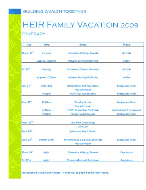 vacation itinerary template beepmunk