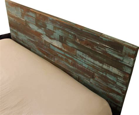 reclaimed wood headboard painted green and blue queen