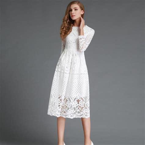 30708 White Informal V Neck Dress Dress Kode Vc6136 1 2017 fashion lace dress with sleeve elegante