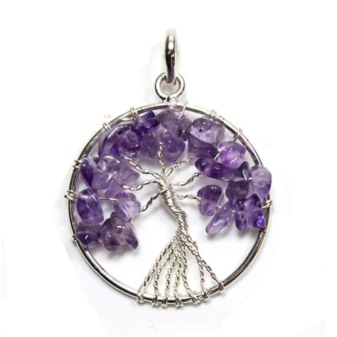 Bf002 Bead Motif Gemstone Limited Stock tree of amethyst silver plated pendant from rockshop wholesale limited