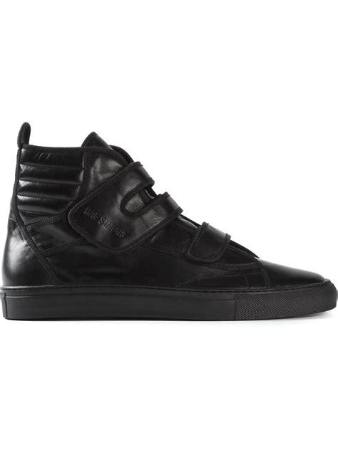 raf simons shoes all black raf simons velcro sneakers in black for lyst
