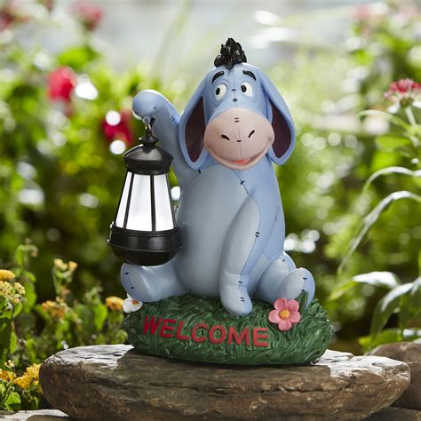 disney disney statue with solar lantern eeyore outdoor living outdoor decor lawn