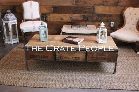 crate coffee table made from vintage wood crates