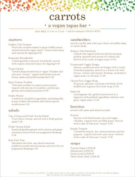 vegetarian tapas menu template archive