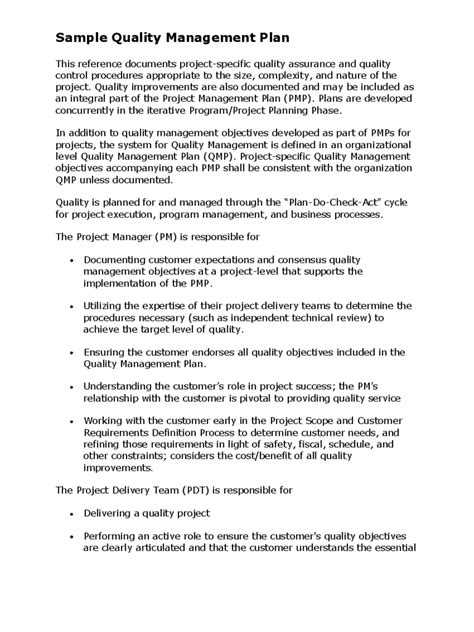 Quality Control Sample Resume by Project Quality Management Plan Template 2 Free