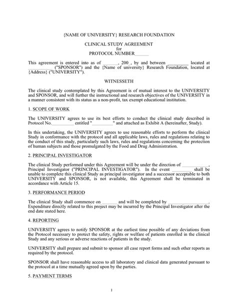 research protocol template clinical study agreement template in word and pdf formats