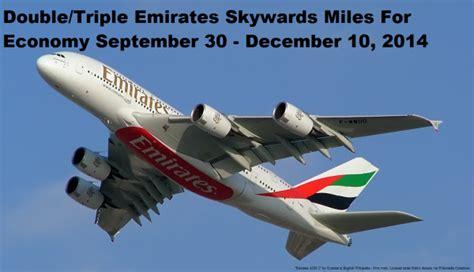emirates earn miles emirates double triple skywards miles for economy