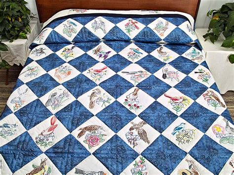 State Quilts by Embroidered State Birds And Flowers Quilt Splendid