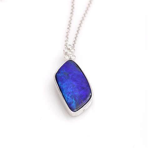 blue opal necklace lyst katherine jetter classic blue opal pendant necklace