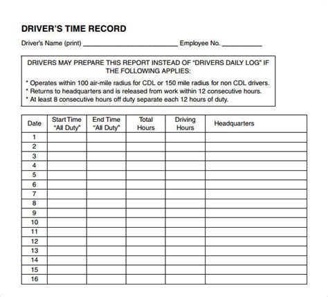 driving log book template drivers daily log book