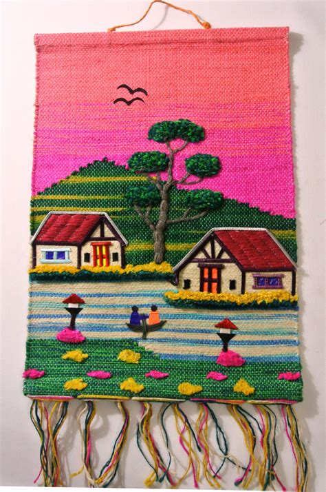 Handmade Fabric Wall Hangings - handmade jute cloth patchwork wall hanging fabric artwork