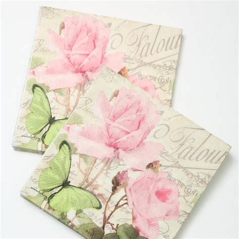 How To Decoupage With Paper Napkins - 2 x decoupage napkins 25 25cm 3 ply pink paper