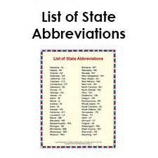 State Of Printable List Of State Abbreviations For Students And