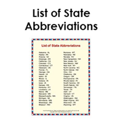 list of us states printable list of state abbreviations for students and kids