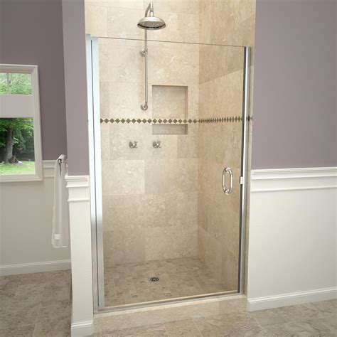 1200 Pivot Shower Door Redi Swing 1200 Series 28 In W X 72 In H Semi Frameless Pivot Shower Door In Polished Chrome