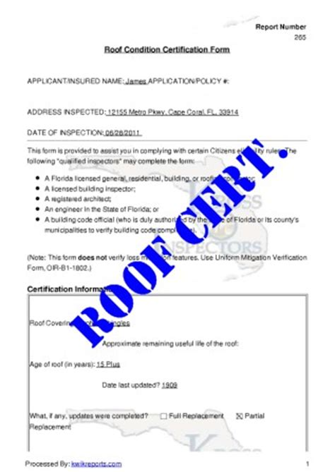 Roof Certification Template by 26 Images Of Sle Roof Cert Template Linkcabin