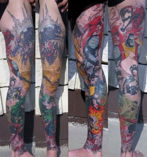 marvel tattoo sleeve marvel comics leg sleeve comic collaboration