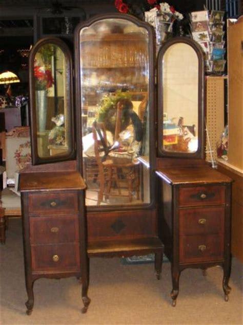 antique dresser with mirror redo old antique dark wood vanity dresser w tri fold mirrors