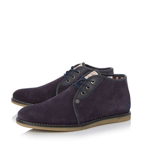 penguin mens boots original penguin suede lace up chukka boots in blue
