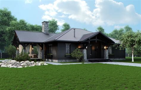 House Plans With Front Porch One Story chic rustic home on wooded lot