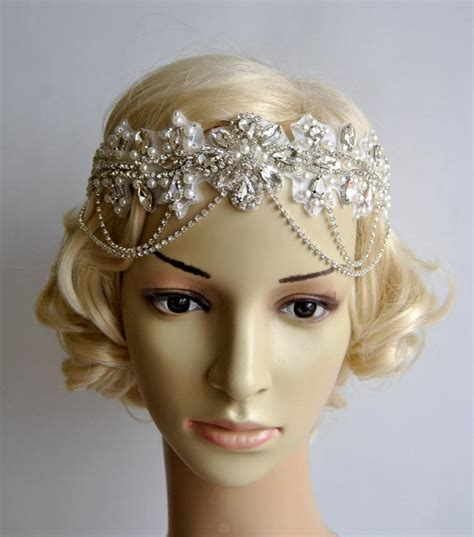 how to make a 1920s hairpiece glamour rhinestone flapper gatsby headband chain 1920s