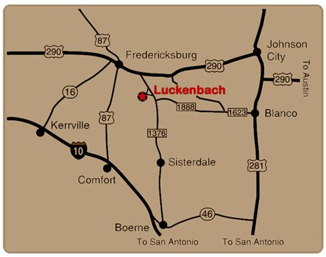 map of luckenbach texas fredericksburg directions