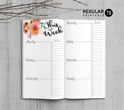 Weekly Insert Regular Size printable weekly planner inserts for midori traveler s notebook bullet journal happy digital