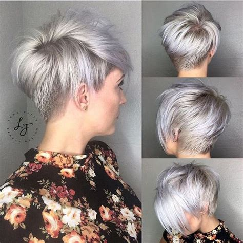short stacked bob haircut shaved silver stacked short haircut shaved hairstyle for women