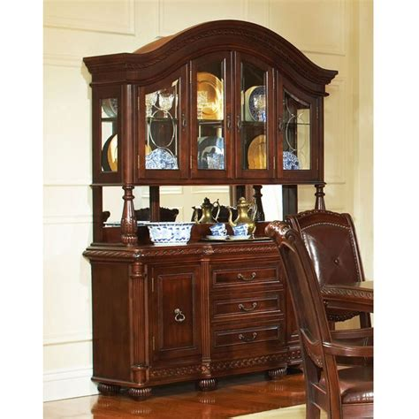 buffet hutch cabinet antoinette buffet table with glass cabinet hutch in cherry finish dcg stores