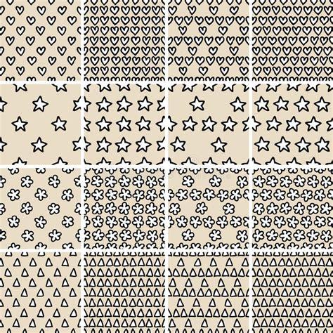 basic doodle basic doodle seamless pattern set no 4 in black and white