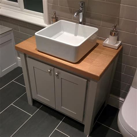 Pavilion Grey Vanity Unit With Oak Top Aspenn Furniture Grey Bathroom Vanity Units