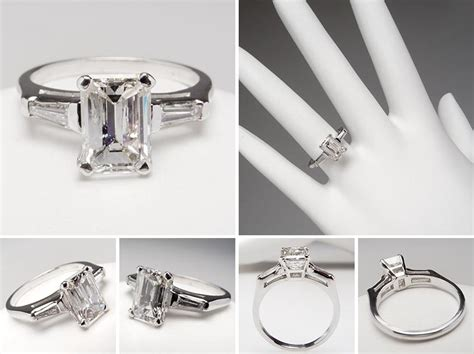 emerald cut engagement rings with baguettes