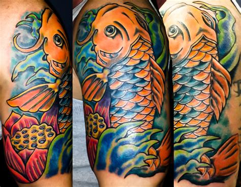 koi tattoo modern koi fish lotus new school tattoo fufred tattoos
