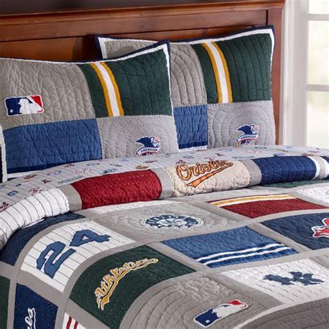 boys baseball bedding mlb american league quilt sham pbteen
