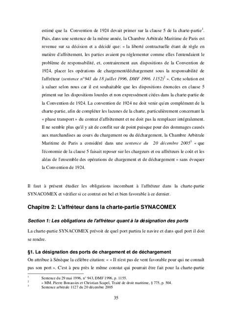 Chambre Arbitrale Maritime De by Charte Partie Synacomex