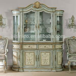 hand painted glass display sideboard buffet shabby chic curio cupboard vintage wooden dining
