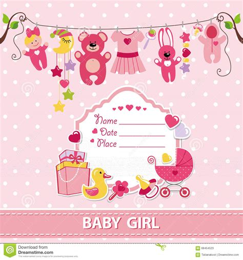 baby birthday card template new born baby card shower invitation template stock