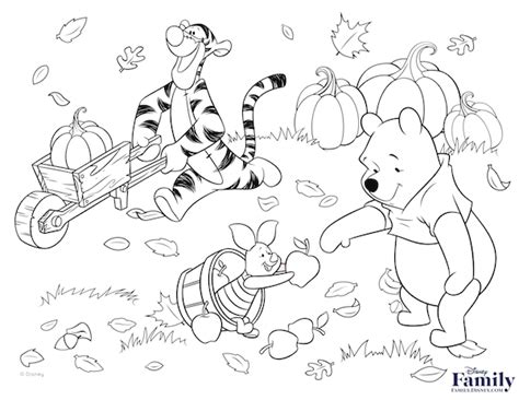 winnie the pooh coloring page autumn winnie the pooh thanksgiving coloring pages printable