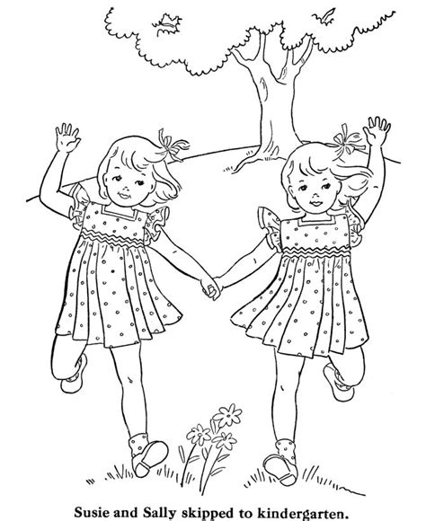 vintage coloring pages for adults vintage girls skipping adult coloring pages pinterest