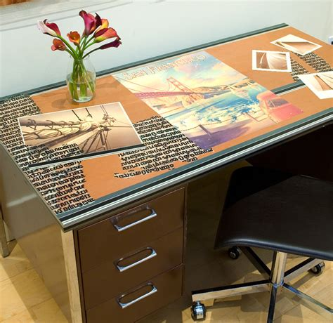 Decoupage Desk Top - soma loft decoupaged office desk contemporary home