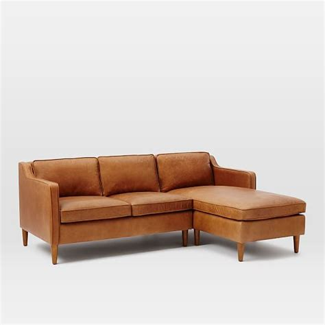 tan sectional with chaise hamilton 2 piece leather chaise sectional tan west elm