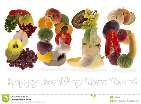 seven vegetables new year 2016 greeting with fruits and vegetables on white