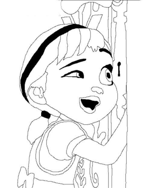 Desenho de Anna chamando Elsa para brincar para colorir
