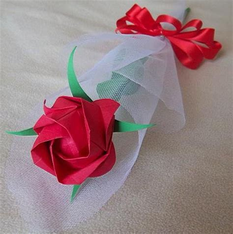 Advanced Origami Flower - origami paper handmade flower with tulle wrapper