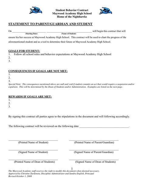 academic contract template high school student behavior contract book covers