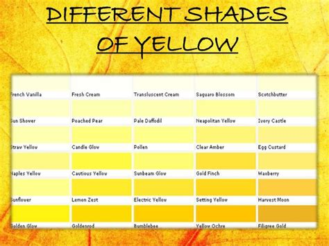 shades of yellow names 28 shades of yellow names shades of yellow chart