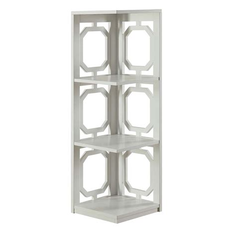 3 Shelf Corner Bookcase 3 Shelf Corner Bookcase In White 203270w
