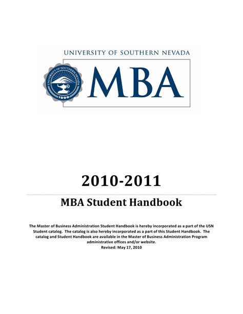 What Is The 4 1 Mba Program by Mba Program Student Handbook 2010 2011 By Roseman