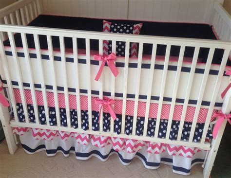 navy and pink crib bedding preppy pink and navy ruffled crib bedding so sweet for